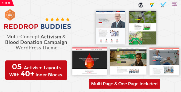 Red Drop Buddies-Multi-Concept Activism & Blood Donation Campaign WordPress Theme